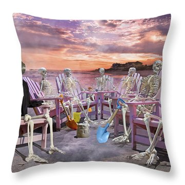 Beach Committee Throw Pillow by Betsy Knapp