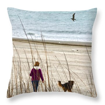 Beach Companions Throw Pillow by Sandi OReilly