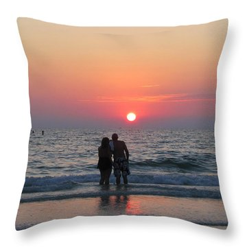 Beach Couple Clearwater Sunset Throw Pillow