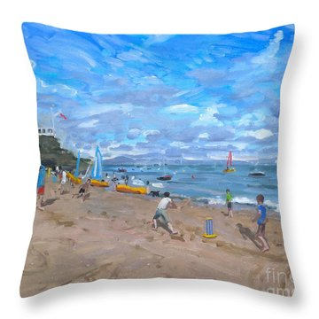 Beach Cricket Throw Pillow by Andrew Macara