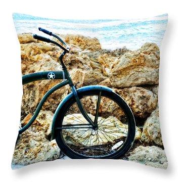 Beach Cruiser - Bicycle Art By Sharon Cummings Throw Pillow by Sharon Cummings