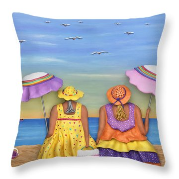 Beach Date Throw Pillow by Anne Klar
