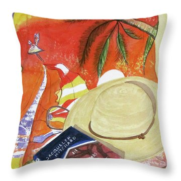 Beach Day Throw Pillow by Carol Flagg