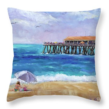 Throw Pillow featuring the painting Beach Day by Jennifer Beaudet