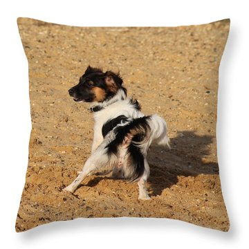 Beach Dog Pose Throw Pillow