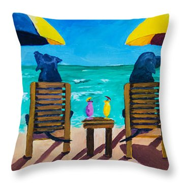 Beach Dogs Throw Pillow by Roger Wedegis