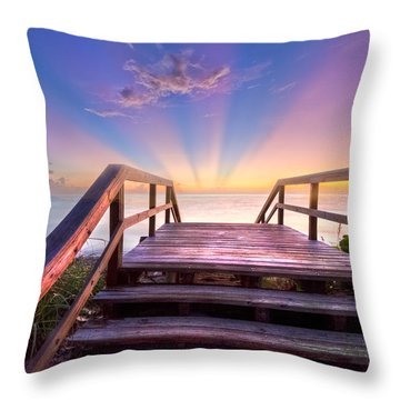 Beach Dreams Throw Pillow by Debra and Dave Vanderlaan