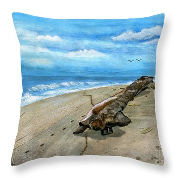 Throw Pillow featuring the painting Beach Drift Wood by Melly Terpening
