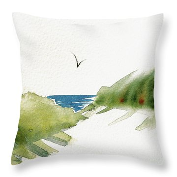 Throw Pillow featuring the painting Beach Dunes And Bird by Nan Wright