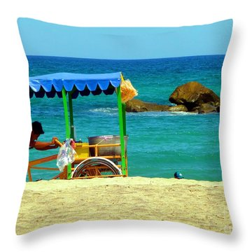 Beach Entrepreneur In San Jose Del Cabo Throw Pillow by Barbie Corbett-Newmin