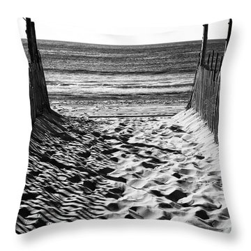 Throw Pillow featuring the photograph Beach Entry Black And White by John Rizzuto
