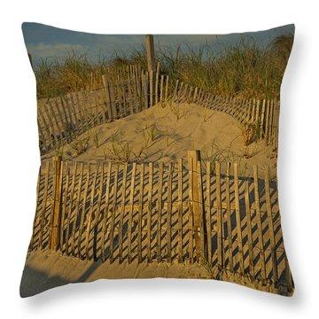 Beach Fence Throw Pillow by Susan Candelario
