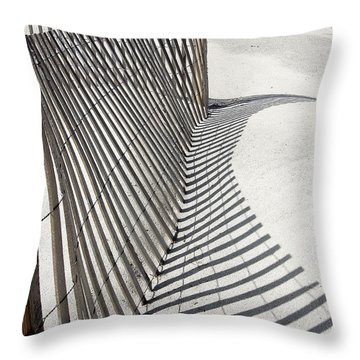 Throw Pillow featuring the photograph Beach Fence With Shadow by Ellen Tully