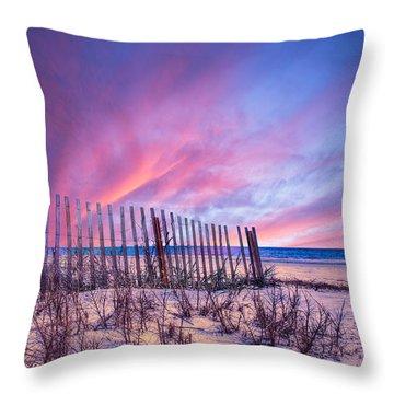 Beach Fences Throw Pillow by Debra and Dave Vanderlaan