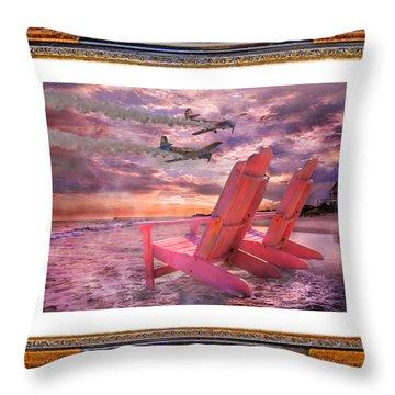 Beach Flight II  Throw Pillow