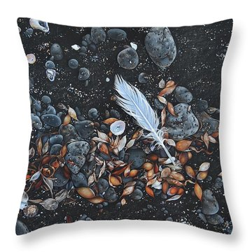 Throw Pillow featuring the drawing Beach Floor. Flinders Vic by Elena Kolotusha
