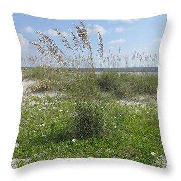 Beach Flowers And Oats 2 Throw Pillow by Ellen Meakin