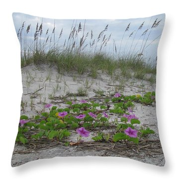 Beach Flowers Throw Pillow by Ellen Meakin