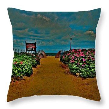 Beach Flowers Throw Pillow