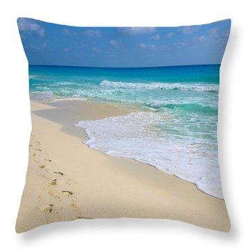 Beach Footprints Throw Pillow