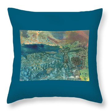 Throw Pillow featuring the mixed media Beach Friends Flotsam And Jetsam by Catherine Redmayne