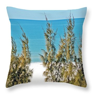 Beach Front View Throw Pillow by Aimee L Maher Photography and Art Visit ALMGallerydotcom