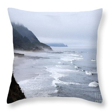 Beach Frontage In Monet Throw Pillow