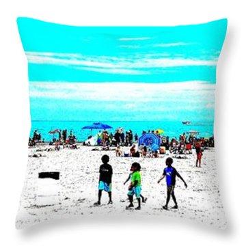 Beach Fun 3 Throw Pillow