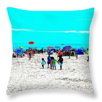 Beach Fun Frisbee Throw Pillow