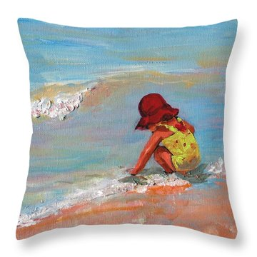 Beach Girl In Red Hat Throw Pillow