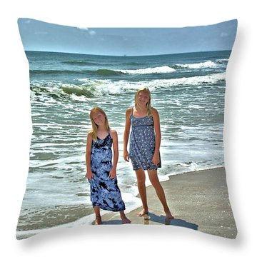 Beach Girls Throw Pillow