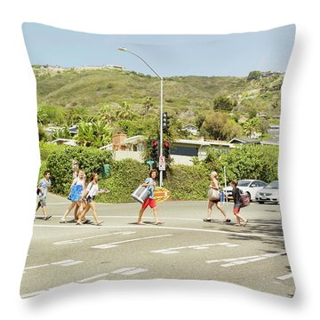 Beach Goers Proceed To Laguna Beach Throw Pillow