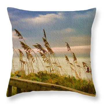 Beach Grass Throw Pillow by Deborah Benoit