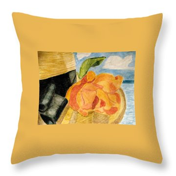 Beach Hat Throw Pillow by Angela Davies