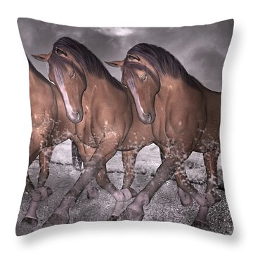 Beach Horse Trio Night March Throw Pillow by Betsy Knapp