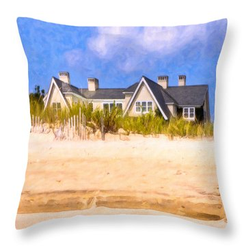 Beach House In The Hamptons Throw Pillow by Mark E Tisdale