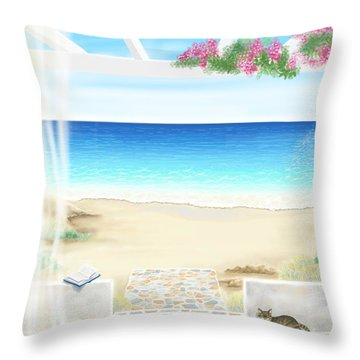 Beach House Throw Pillow by Veronica Minozzi