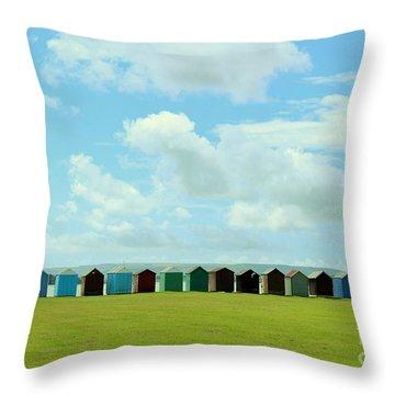 Beach Huts Throw Pillow by Katy Mei