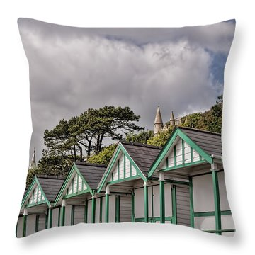 Beach Huts Langland Bay Swansea 3 Throw Pillow by Steve Purnell