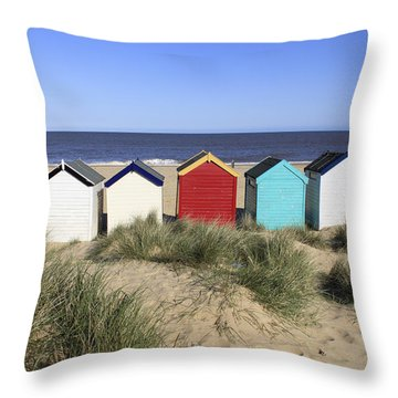 Southwold Beach Huts Uk Throw Pillow