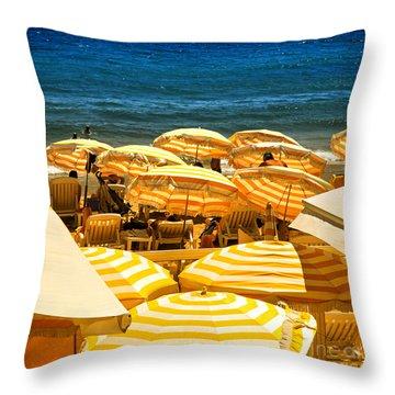 Beach In Cannes  Throw Pillow
