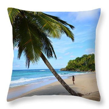 Beach In Dominican Republic Throw Pillow