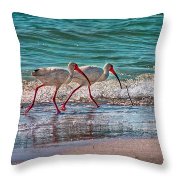 Beach Jogging In Twos Throw Pillow by Hanny Heim