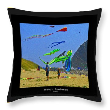 Beach Kids 4 Kites Throw Pillow