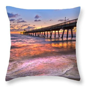 Beach Lace Throw Pillow by Debra and Dave Vanderlaan