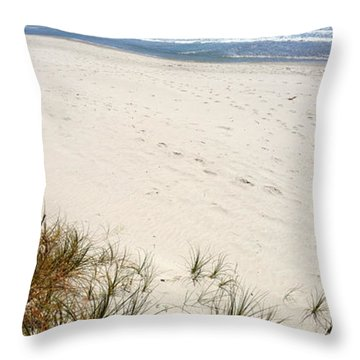 Beach Throw Pillow by Les Cunliffe