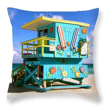 Beach Life In Miami Beach Throw Pillow
