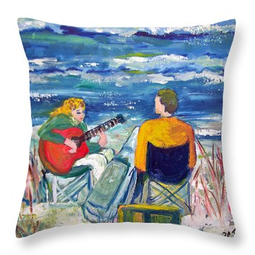 Beach Music Throw Pillow by Patricia Taylor