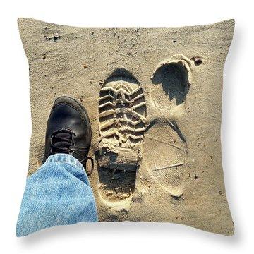 Beach Of Big Feet Throw Pillow