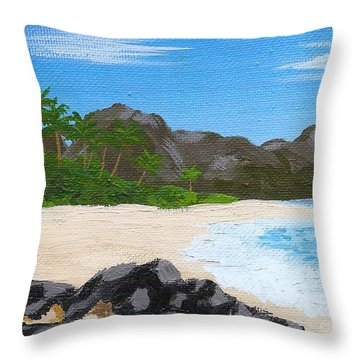 Beach On Helicopter Island Throw Pillow by Vicki Maheu